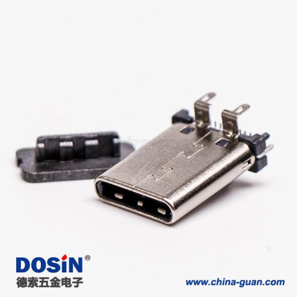 直立式公头type-c穿孔插拔接PCB板