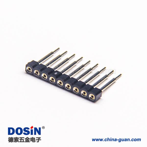 单排圆孔座排母连接器2.54mm间距9pin直式长15mm