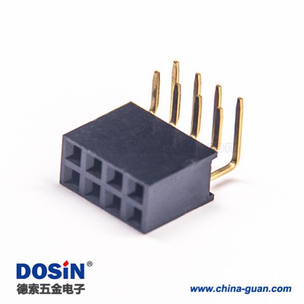 双排母座 弯间距2.54mm单塑Y型连接器塑高8.5mm 10pcs