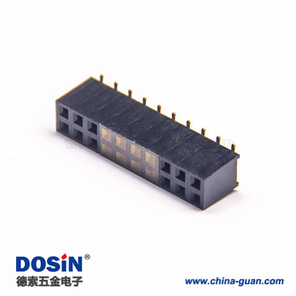 双排U型排针贴板间距2.54mm塑高7.1mm