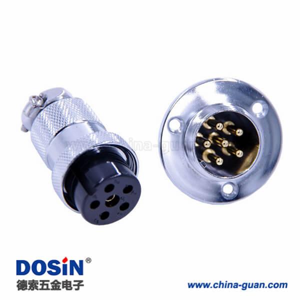 航空接头GX25 IP55直式防水连接器6芯法兰公母连接器