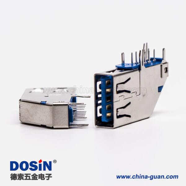 usb3.0母座侧插type a弯式母座插孔接PCB板