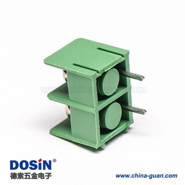 栅栏式端子2芯绿色连接器插PCB板