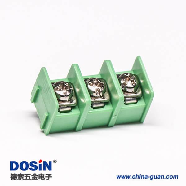 栅栏式接线端子3芯绿色直式插PCB板连接器