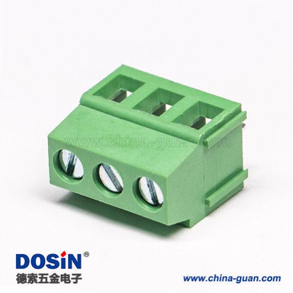 螺钉式接线端子排直式3芯接PCB板连接器绿色