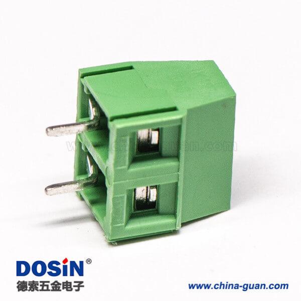 PCB端子绿色螺钉式2芯直式穿孔插PCB板