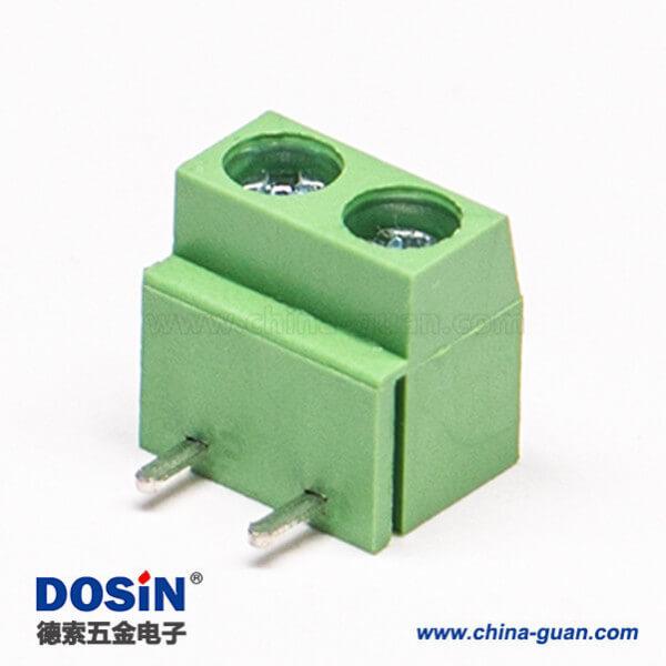 螺钉式PCB接线端子2芯弯式绿色接PCB板穿孔式