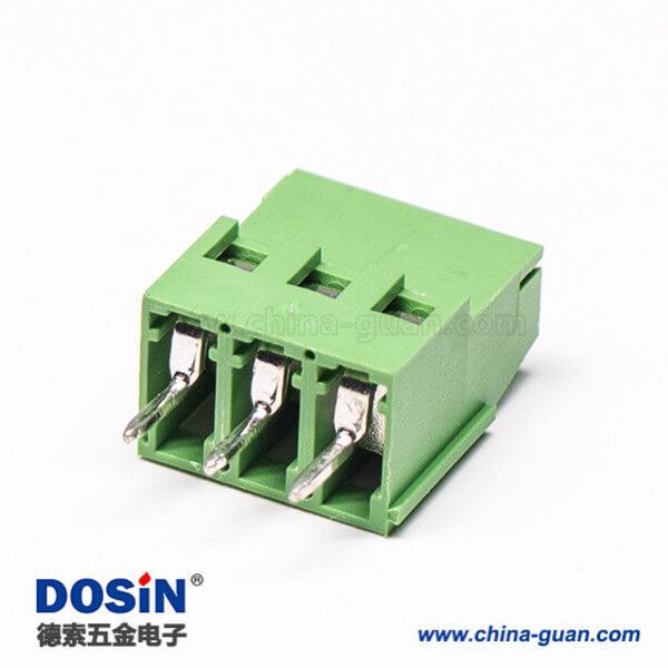 螺钉式端子3芯绿色直式穿孔式插PCB板端子接接线