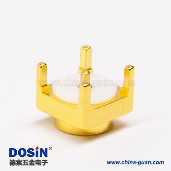 mcx系列射频同轴连接器母头直式镀金穿孔式接PCB板