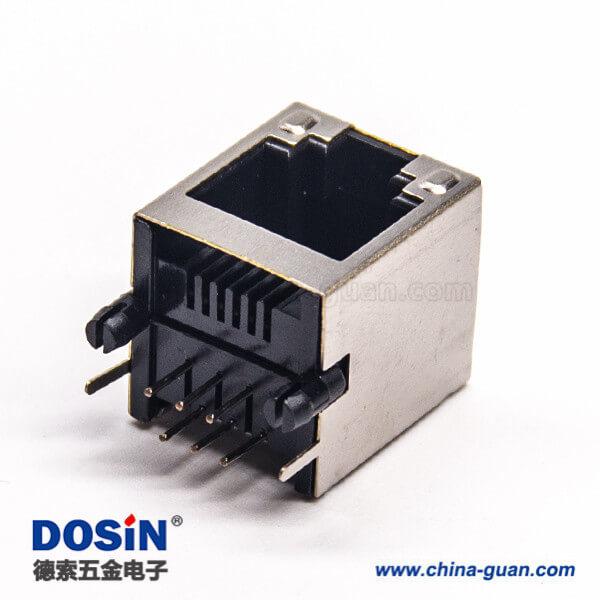 rj12以太网连接器弯式90度插板带定位柱带屏蔽