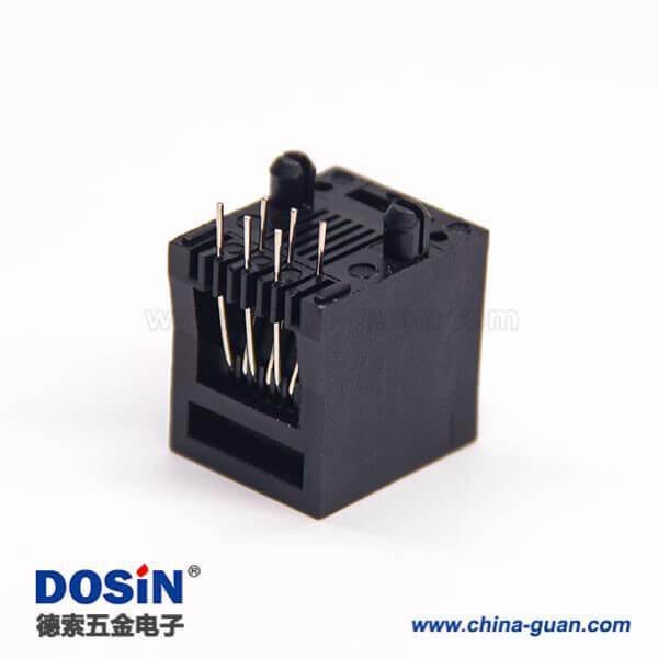 rj25网口6p6c单端口直式塑胶黑色插板