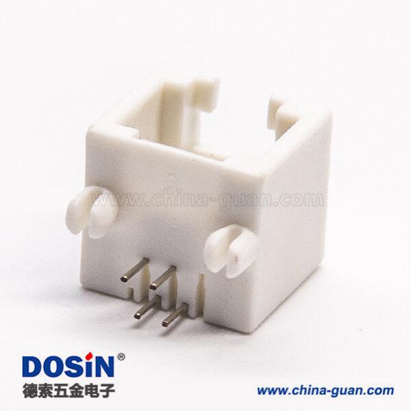 4针rj14网络模块化连接器弯式接板DIP不带屏蔽白色全塑