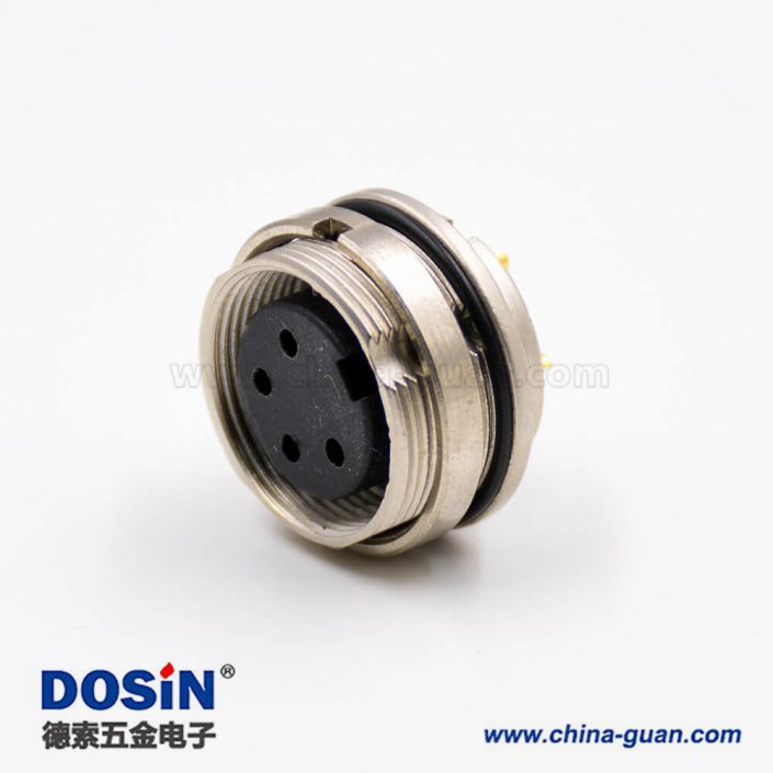 插座母头M16系列4芯板端插座前锁穿墙A扣直式焊杯接线连接器