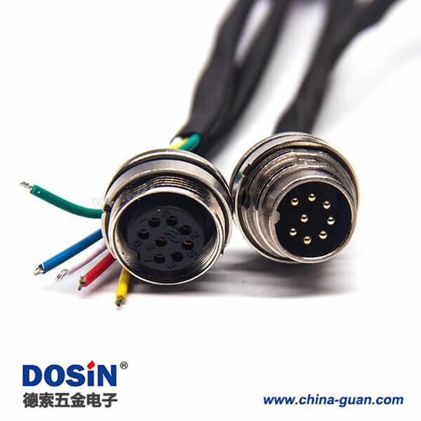 工业电缆防水接头M16直式8芯A型连接器前锁板安装线长0.3M