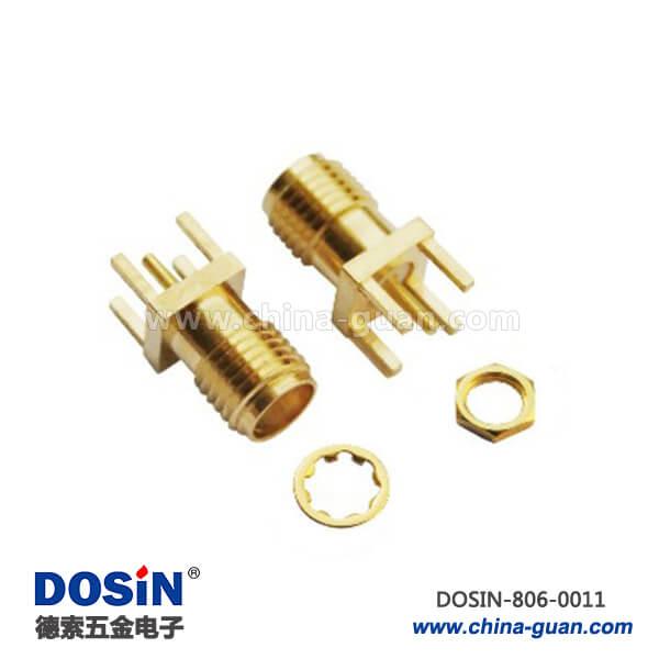 连接器母座sma射频同轴直式母头镀金PCB电路板