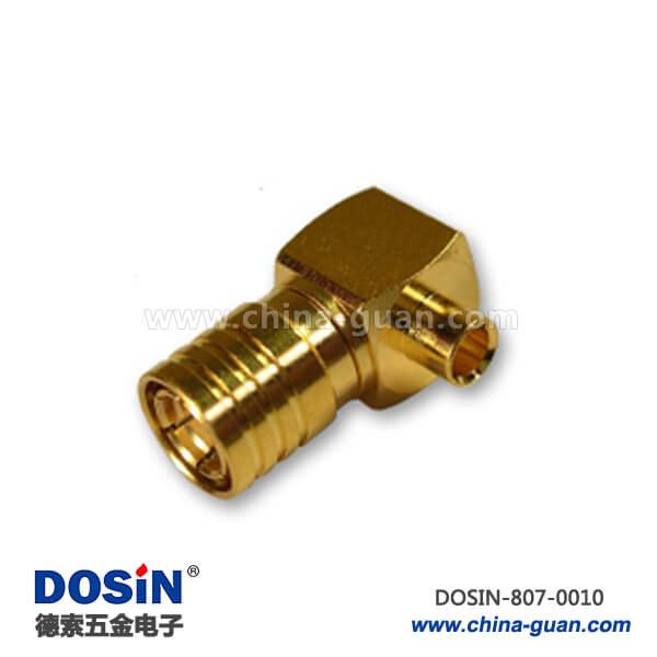smb连接器弯式焊接镀金公头射频同轴线缆