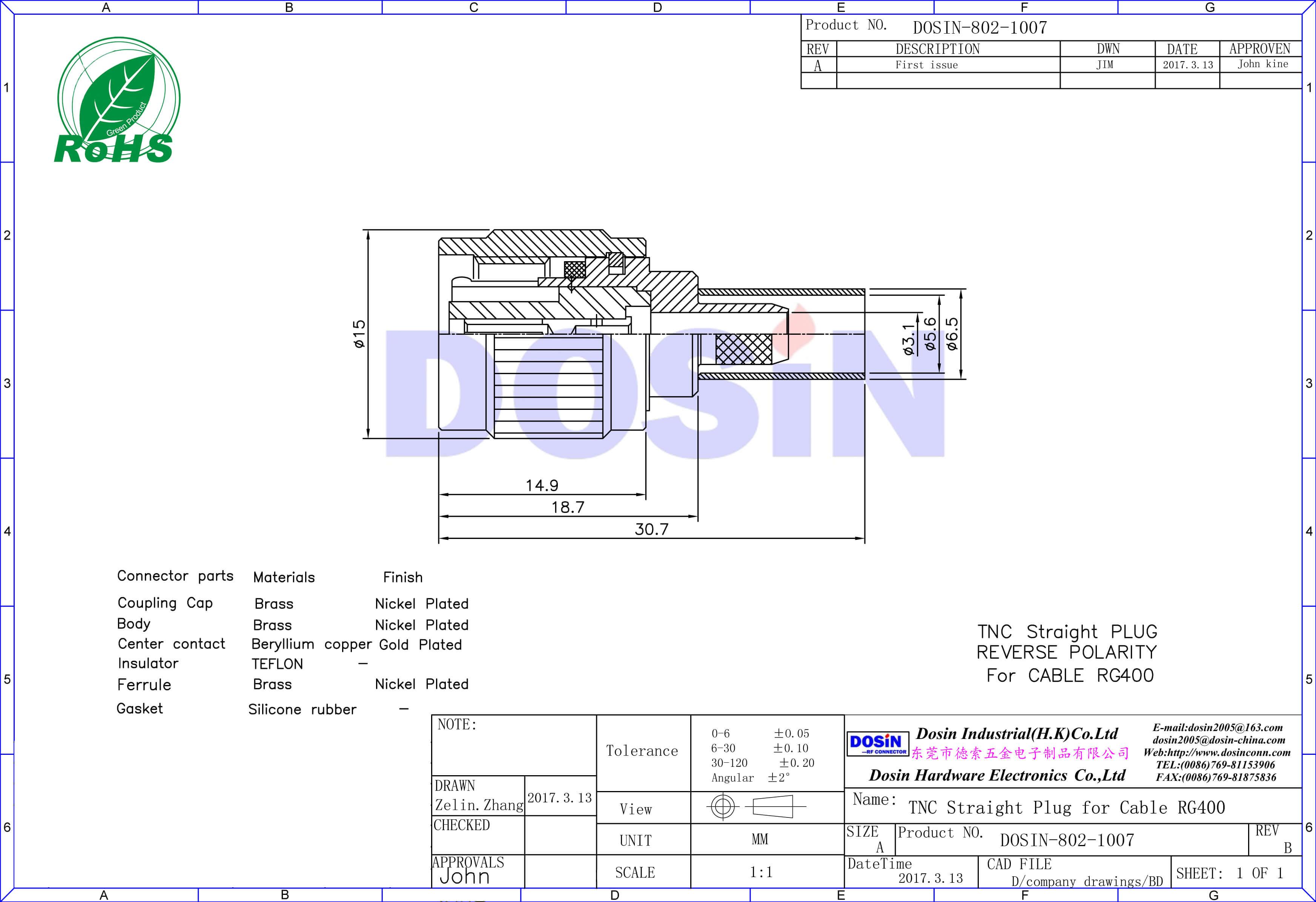tnc连接器RG400反极直式压接插头同轴线缆