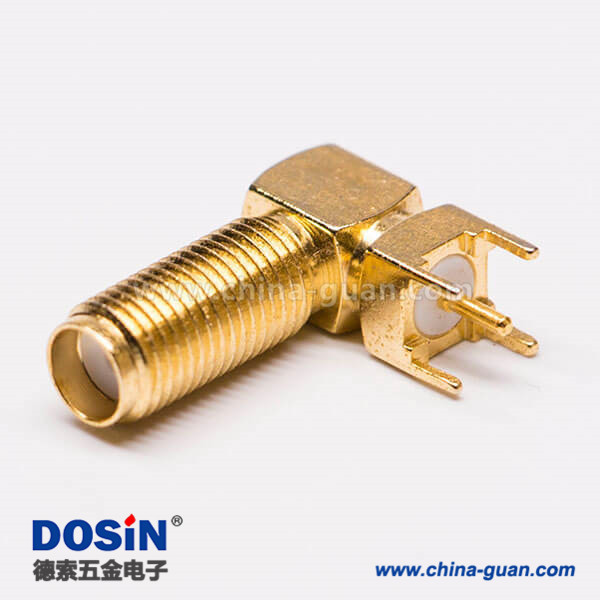 SMA连接器90度接PCB板端穿墙式SMA母接头