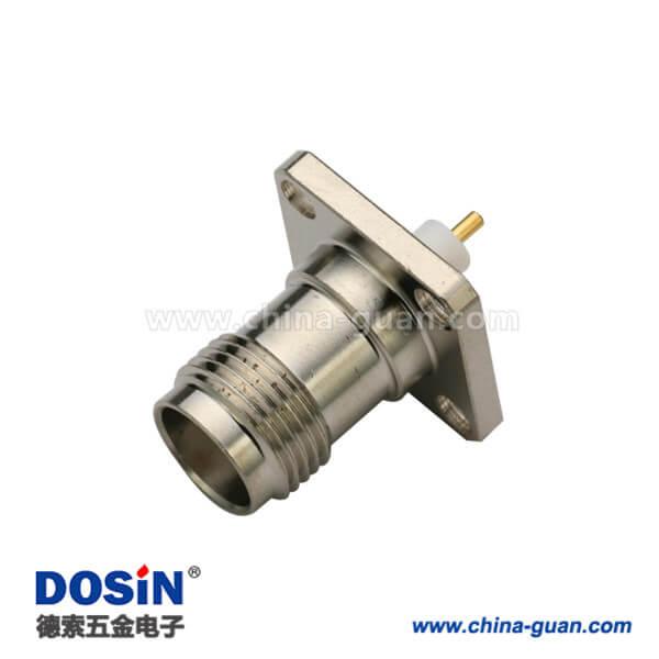 tnc射频同轴连接器直式焊接母头法兰式4孔方形安装盘