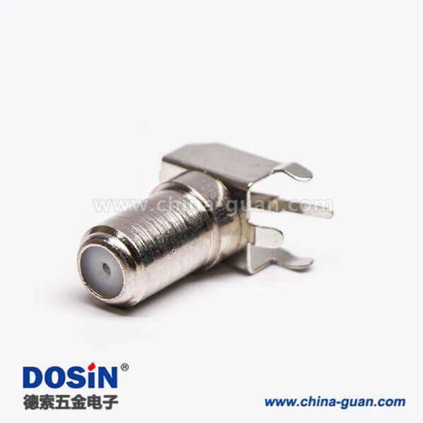F头插座弯式螺纹连接器插孔接PCB板