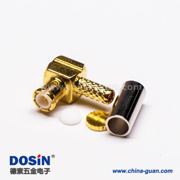 MCX弯形插头公头射频连接器压接式接线