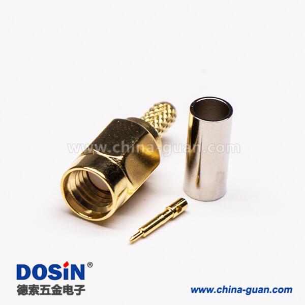 SSMA直式插头180度公头接线压接