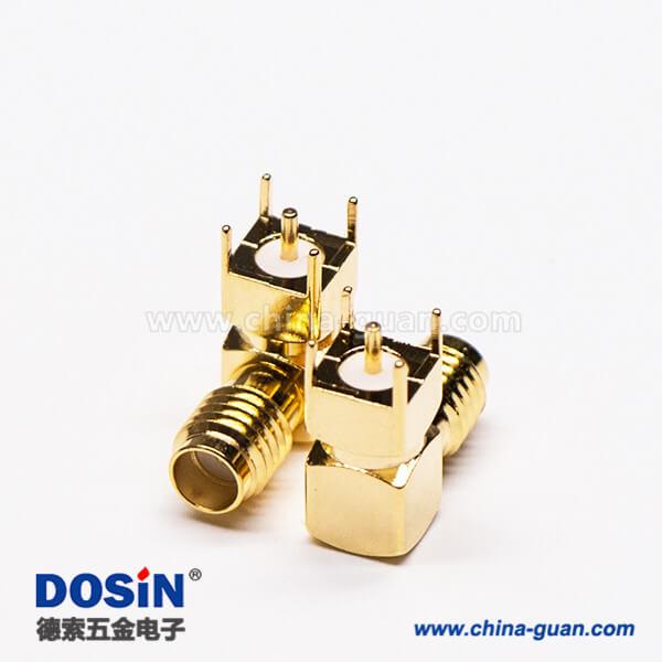 SSMA弯式插座母头母针射频连接器穿孔接PCB板