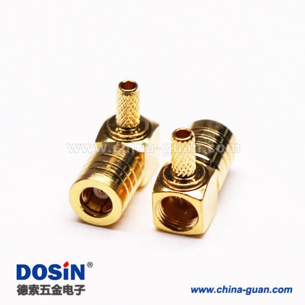 连接器SMB公头弯式90度压接接线镀金