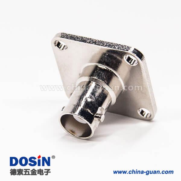 带法兰bnc连接器4孔法兰母头180度直式焊接式接线