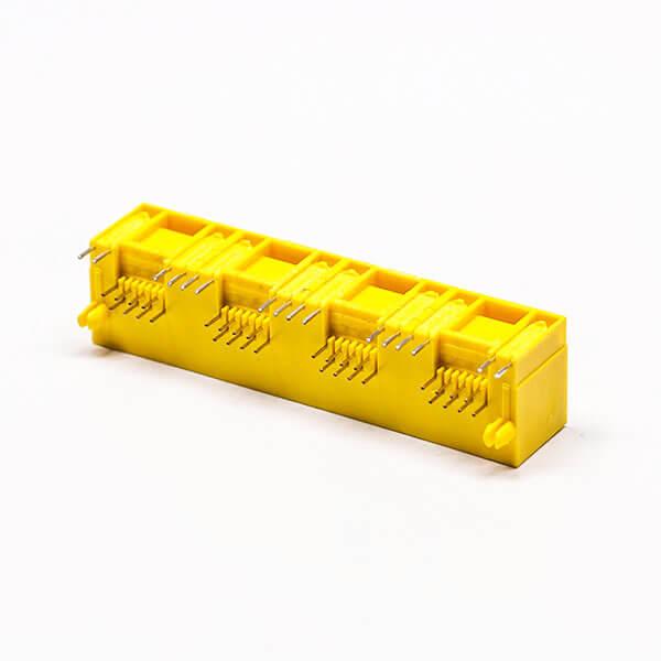 rj45以太网接口黄色4口90度不带屏蔽带灯母座