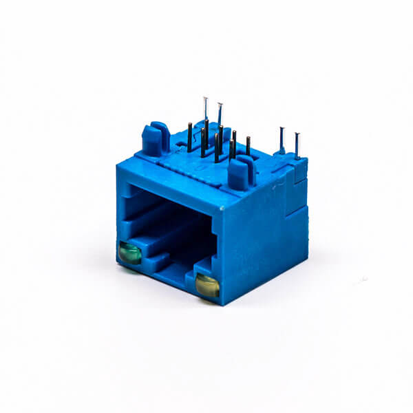 rj45网线接口母座弯式全塑蓝色单口8p带灯连接器