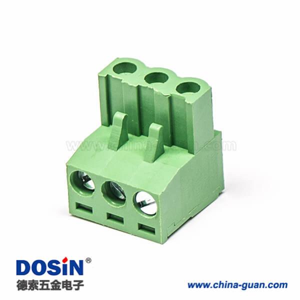 螺钉式插拔接线端子弯式插头带三螺钉端子绿色
