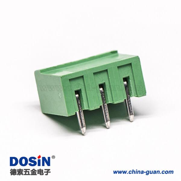 插拔式接线端子弯针3芯弯式两侧实心绿色端子穿孔式