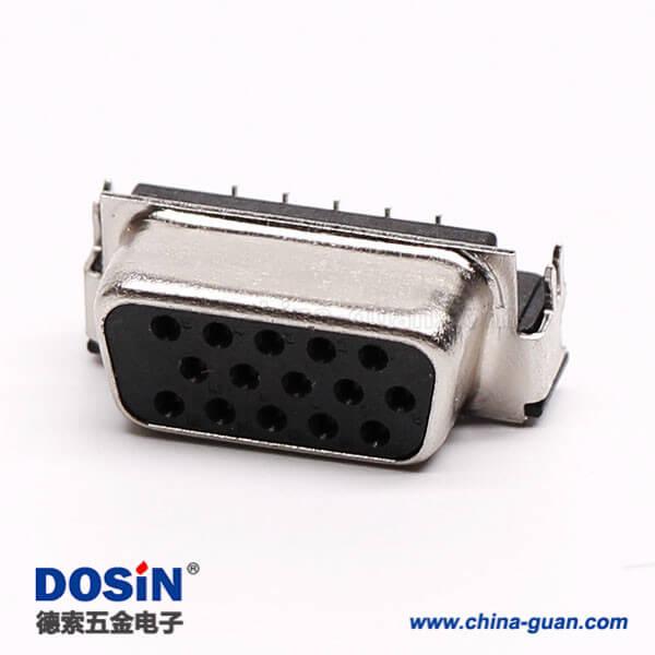 db15接口母头插座三排高密度弯式黑色胶芯插孔