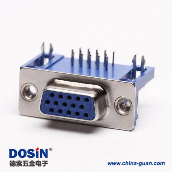 db15母头连接器弯式蓝色胶芯焊板铆锁不带螺丝