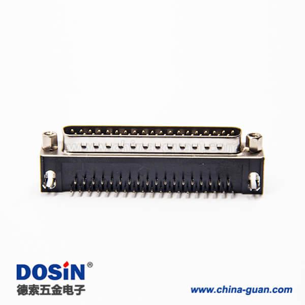 d sub37pin连接器公头弯式90度带铆锁插板式接PCB板