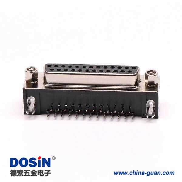 DSub25PIN连接器母座弯式冲针铆锁接PCB板