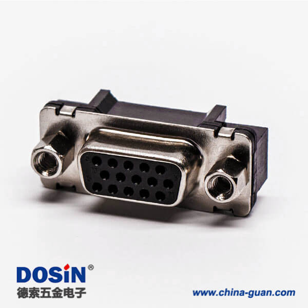 db15三排直插焊板高密度黑色胶芯子带螺母