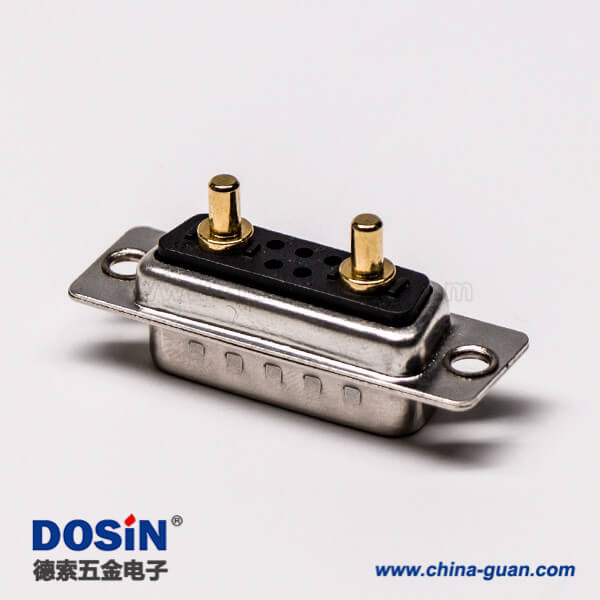 d sub 7w2大电流公座焊线直式光孔铆合混合型接线