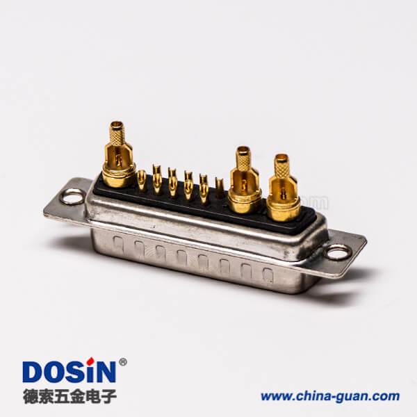混装大电流dsub13w3铆合公座焊接车针直式接线