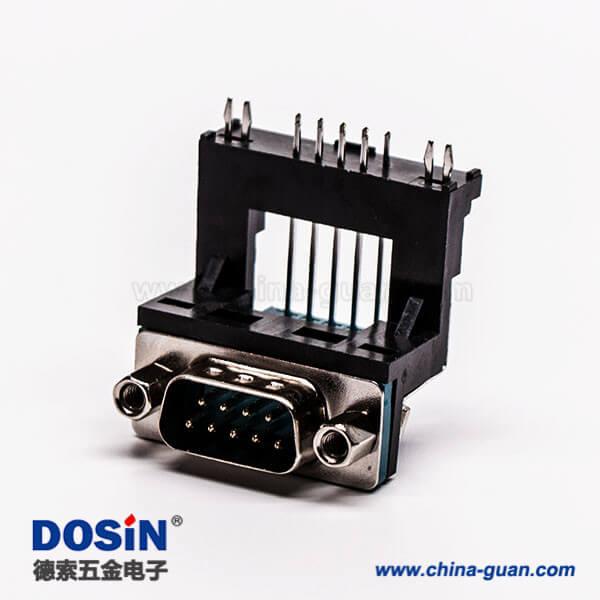 D-Sub连接器9针公对高架5.8铆锁黑胶接PCB板