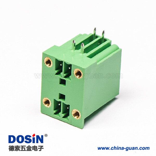 PCB绿色接线端子4芯直式4孔法兰方形面板安装穿墙式端子