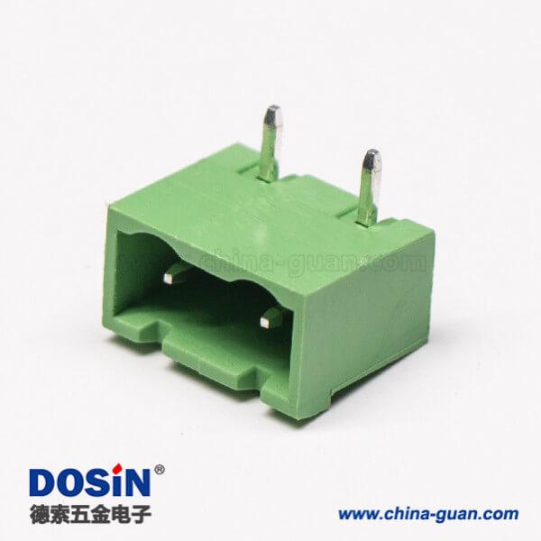 直弯针PCB接线端子2芯弯式穿孔PCB板绿色接线端子