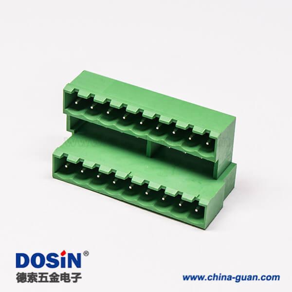 插拔式双层接线端子18芯直式PCB板180度直插式绿色接线端子座子