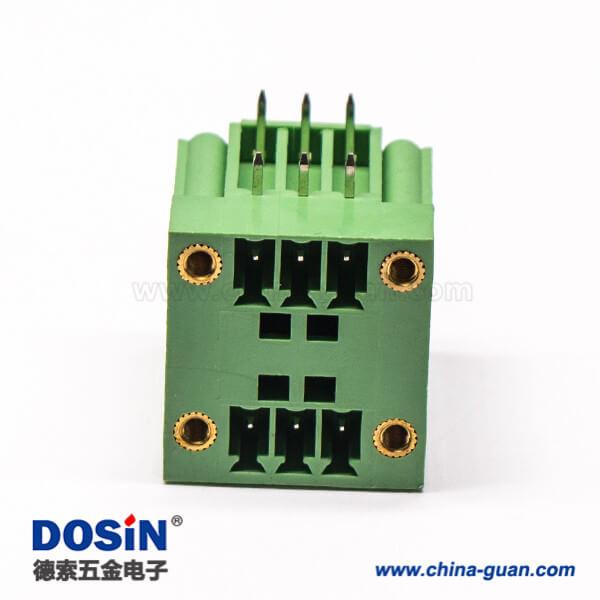 绿色接线端子6芯双排直式穿孔带4个螺丝孔的方形端子