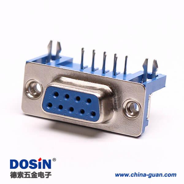 9Pin D-Sub母座弯角连接器铆锁蓝胶接PCB板
