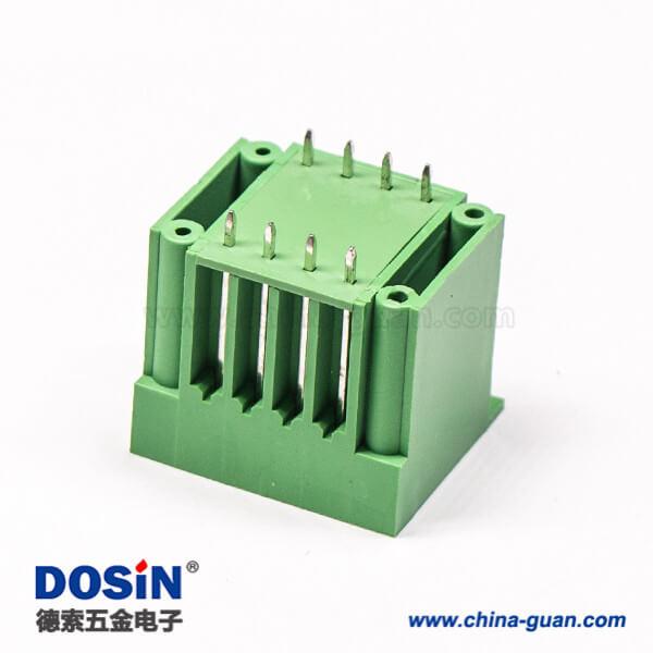 PCB八芯绿色接线端子方形穿墙式法兰安装端子座