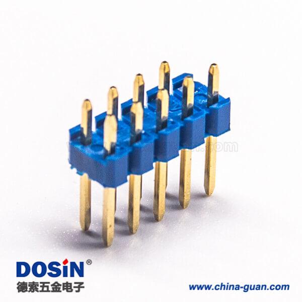 直插双排插针9pin蓝色塑胶插PCB板间距2.54mm 10pcs