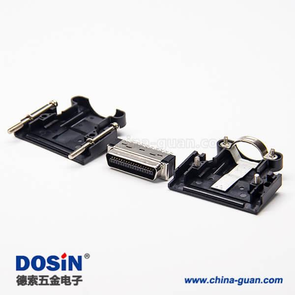 SCSI MDR 36 Pin螺丝式直式MDR连接器黑色塑料外壳焊接式