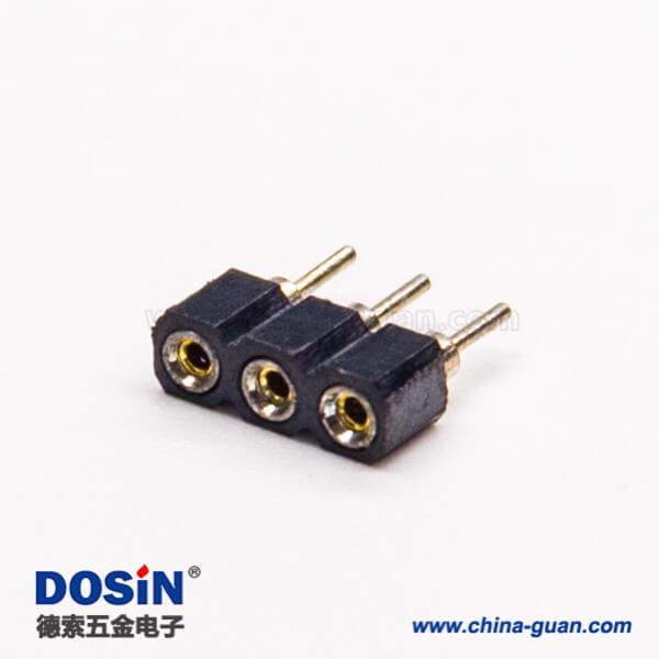2.54圆孔排针直式180度插板式3pin连接器